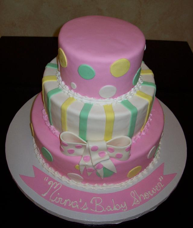 Bowsd Circles and Stripes Fondant Cake