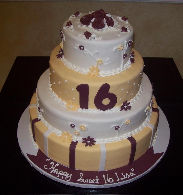 Sweet 16 Fondant Cake w/ Flowers